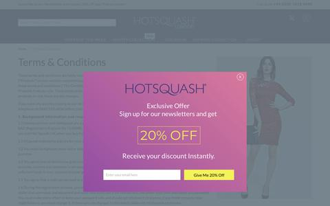 Screenshot of Terms Page hotsquash.com - Terms & Conditions - captured Sept. 29, 2018