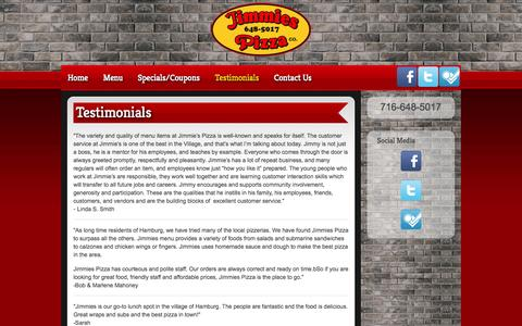 Screenshot of Testimonials Page jimmiespizzahamburg.com - Testimonials - captured Oct. 6, 2014