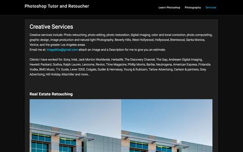 Screenshot of Services Page andrewkavanagh.com - Creative Services | Photoshop | Retouching - captured Aug. 1, 2017