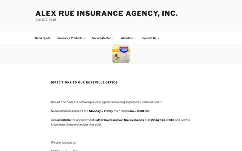 Screenshot of Maps & Directions Page alexrue.com - Directions to our Roseville Office – Alex Rue Insurance Agency, Inc. - captured Dec. 18, 2018