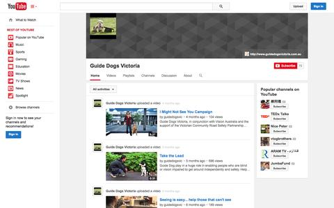 Screenshot of YouTube Page youtube.com - Guide Dogs Victoria  - YouTube - captured Oct. 23, 2014