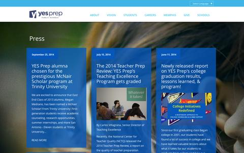 Screenshot of Press Page yesprep.org - Press | YES Prep Public Schools - captured Oct. 3, 2014