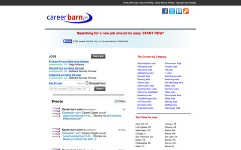Screenshot of Home Page careerbarn.com - Jobs & Job Search | Employment and Careers | View All Job Openings. Careerbarn.com - captured Oct. 1, 2014