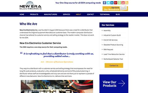Screenshot of About Page neweraelectronics.com - New Era Electronics – Your One Stop Source for All OEM Computing Needs - captured Oct. 1, 2014