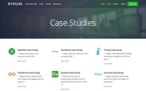 Screenshot of Case Studies Page raygun.io - Case Studies | Raygun - captured Nov. 21, 2015