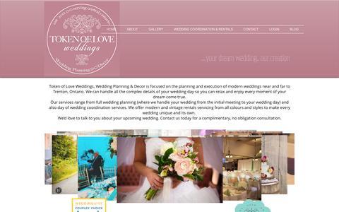 Screenshot of Home Page tokenoflove.ca - Token of Love Weddings - captured Aug. 15, 2015