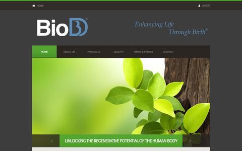 Screenshot of Home Page biodlogics.com - BioD, LLC - Enhancing Life Through Birth - captured Oct. 8, 2014