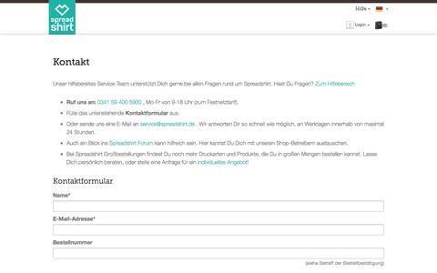Screenshot of Support Page spreadshirt.de - Kontakt | Spreadshirt - captured Dec. 30, 2016