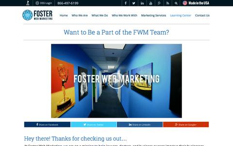 Screenshot of Jobs Page fosterwebmarketing.com - Career Contact Page   Foster Web Marketing - captured Sept. 3, 2016