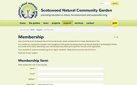 Screenshot of Signup Page sncg.org.uk - Membership - Scotswood Natural Community Garden - captured Oct. 4, 2014