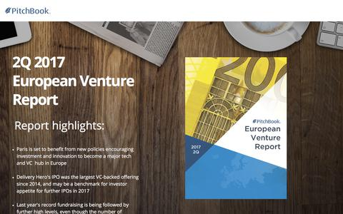 Screenshot of Landing Page pitchbook.com - PitchBook 2Q 2017 European Venture Report - captured April 8, 2018