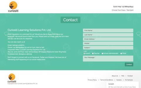 Screenshot of Contact Page curiositi.in - Contact | Curiositi - captured Sept. 19, 2017