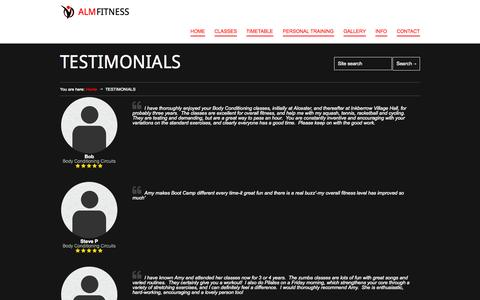 Screenshot of Testimonials Page almfitness.co.uk - ALM Fitness | Personal Trainer | Fitness Instructor Worcestershire | TESTIMONIALS - ALM Fitness | Personal Trainer | Fitness Instructor Worcestershire - captured Sept. 30, 2014