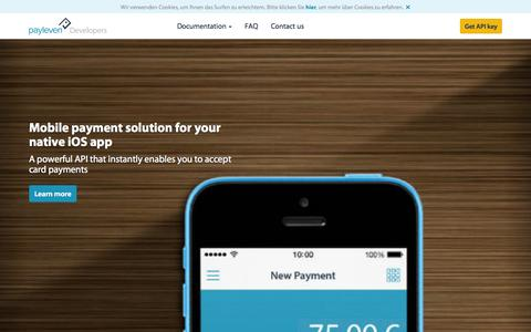 Screenshot of Developers Page payleven.de - Integrate payments in your mobile app through API | payleven UK - captured Oct. 31, 2014