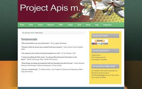 Screenshot of Testimonials Page projectapism.org - Testimonials - captured Oct. 27, 2014
