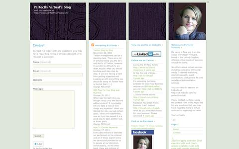 Screenshot of Contact Page wordpress.com - Contact | Perfectly Virtual's blog - captured Sept. 12, 2014