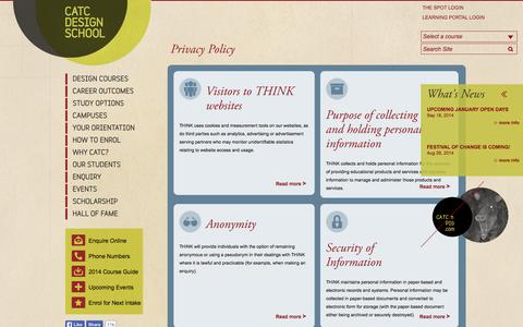 Screenshot of Privacy Page catc.edu.au - Privacy Policy — CATC Design School - captured Sept. 23, 2014