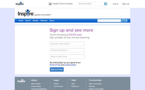 Screenshot of Signup Page inspire.com - Sign up for health and wellness support groups - Inspire - captured Sept. 18, 2014