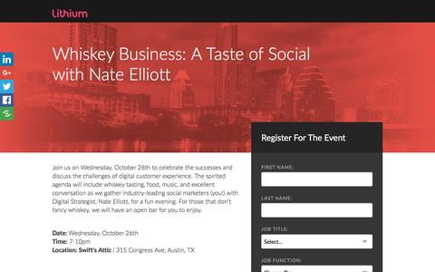Screenshot of Landing Page lithium.com - Whiskey Business: A Taste of Social with Nate Elliott - captured Nov. 11, 2016