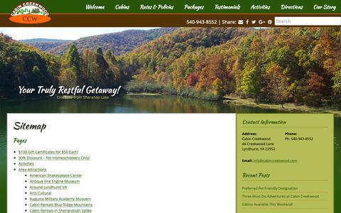 Screenshot of Site Map Page cabincreekwood.com - Cabin Creekwood Cabins in Virginia - captured Sept. 26, 2018