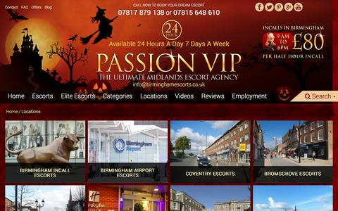 Screenshot of Locations Page birminghamescorts.co.uk - Passion VIP - Locations - captured Oct. 23, 2016