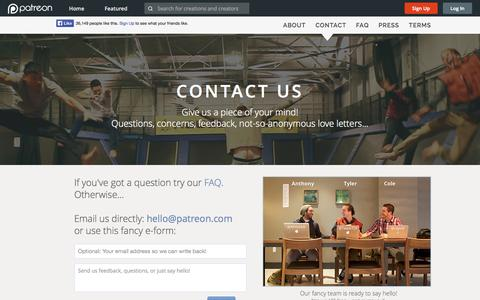 Screenshot of Contact Page patreon.com - Patreon: Contact Us - captured Dec. 17, 2014