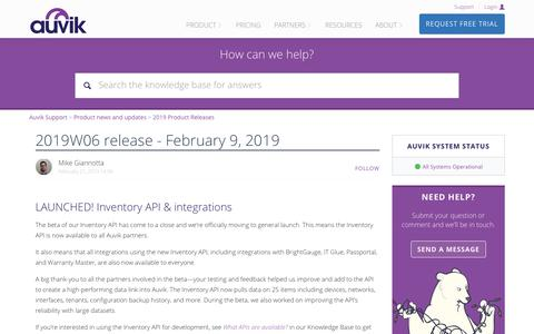 Screenshot of Support Page auvik.com - 2019W06 release - February 9, 2019 – Auvik Support - captured May 7, 2019