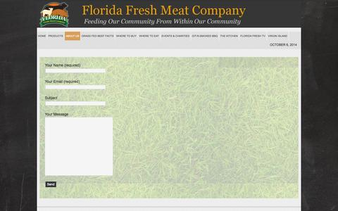 Screenshot of Contact Page floridafreshmeat.com - Contact Florida Fresh Meat Company   Hormone Free Meats   Steriod Free Meats   Sustainable food - captured Oct. 6, 2014