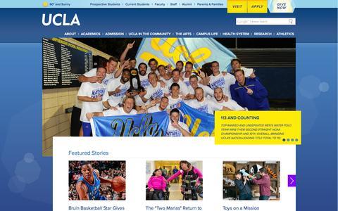 Screenshot of Home Page ucla.edu - UCLA - captured Dec. 19, 2015
