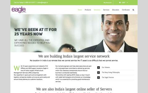 Screenshot of Home Page eagle.in - Buy Server Online in India | HPE Dell Lenovo Cisco | IT Infrastructure Maintenance | All India Service Network - captured Aug. 18, 2019
