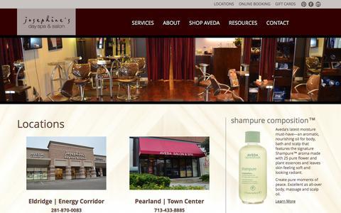 Screenshot of Locations Page josephinesdayspa.com - Locations - Josephine's Day Spa & Salon - captured Oct. 6, 2014