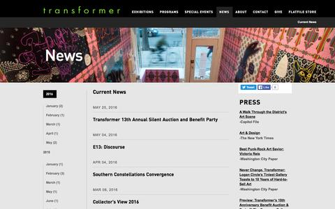Screenshot of Press Page transformerdc.org - Current News | Transformer - captured May 31, 2016