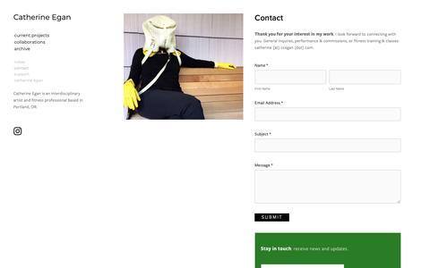 Screenshot of Contact Page ccegan.com - Contact — Catherine Egan - captured Nov. 5, 2018