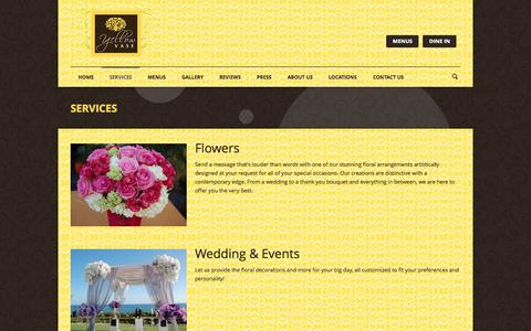 Screenshot of Services Page yellowvase.com - Bakery, Flowers & Cafe | YELLOW VASE | Services - captured Oct. 7, 2014