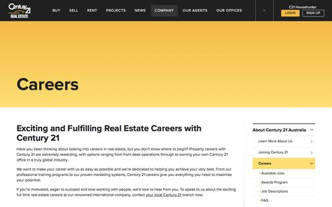 Screenshot of Jobs Page century21.com.au - Property & Real Estate Careers & Jobs - CENTURY 21 Australia - captured April 11, 2018