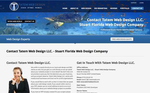 Screenshot of Contact Page tatemwebworld.com - Contact Tatem Website Designers   Stuart Florida 34994   34997 - captured April 10, 2017