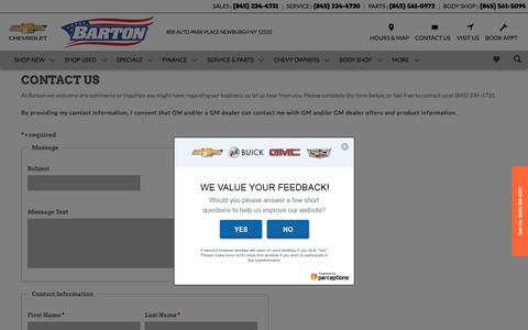 Screenshot of Contact Page bartonchevrolet.com - Contact Us | Barton Chevrolet in Newburgh - captured July 5, 2018