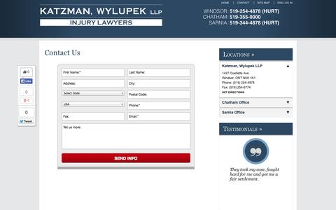Screenshot of Contact Page Locations Page katzman-wylupek.com - Contact Us | Katzman, Wylupek LLP - captured Oct. 22, 2014