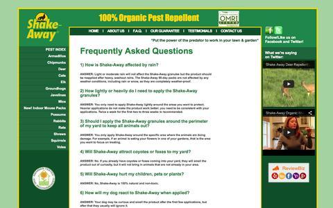 Screenshot of FAQ Page shake-away.com - Shake-Away - 100% Natural Non-Toxic Animal Repellent - captured Oct. 7, 2014