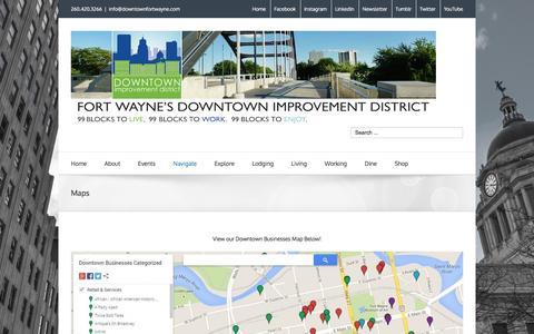 Screenshot of Maps & Directions Page downtownfortwayne.com - Maps - Downtown Fort Wayne - captured Feb. 9, 2016