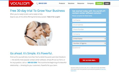 Screenshot of Trial Page vocalcom.com - Call Center Software Free Trial | Vocalcom - captured Nov. 4, 2014