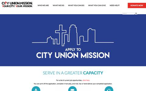 Screenshot of Jobs Page cityunionmission.org captured July 18, 2018