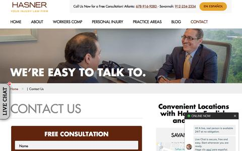 Screenshot of Contact Page hasnerlaw.com - Contact Us | Hasner Law PC - captured Oct. 6, 2019