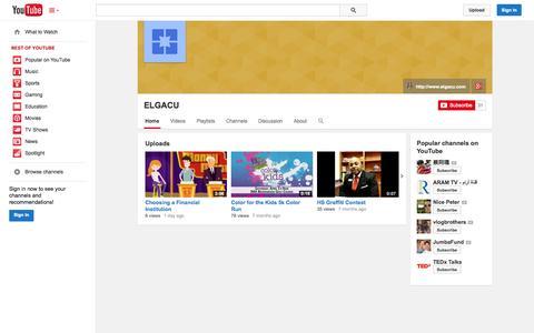Screenshot of YouTube Page youtube.com - ELGACU  - YouTube - captured Oct. 22, 2014