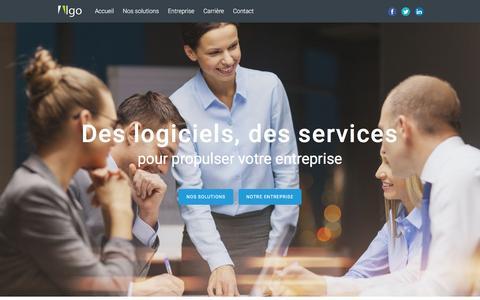 Screenshot of Home Page algodesign.com - ALGO | Des logiciels, des services pour propulser votre entreprise. - captured Feb. 5, 2016