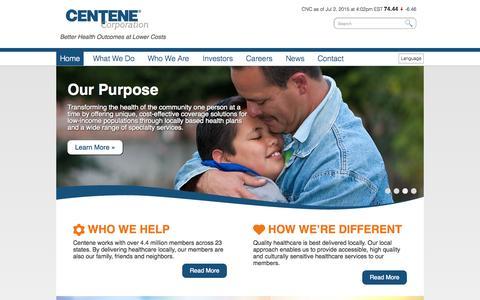 Screenshot of Press Page centene.com - Centene Corporation - Home - captured July 3, 2015