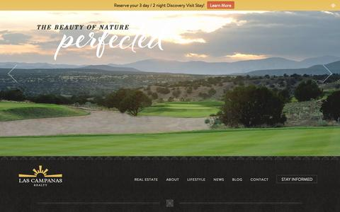 Screenshot of Home Page lascampanas.com - Santa Fe Real Estate - Luxury Golf Community - Las Campanas - captured Oct. 2, 2014