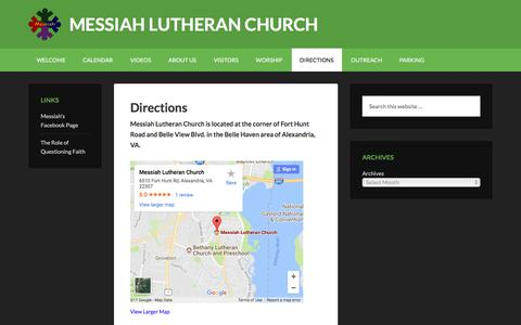 Screenshot of Maps & Directions Page messiahelca.org - Directions - captured Oct. 18, 2017