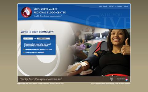 Screenshot of Home Page Locations Page bloodcenter.org - Homepage - Mississippi Valley Regional Blood Center - captured Oct. 6, 2014