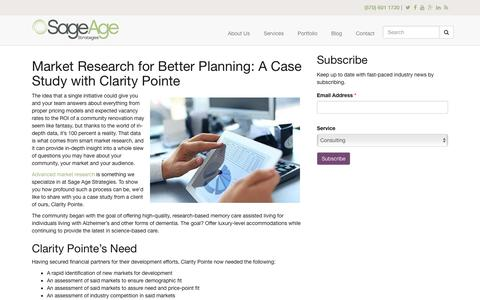 Screenshot of sageagestrategies.com - Market Research for Better Planning: A Case Study with Clarity Pointe | Sage Age Strategies - captured Aug. 20, 2016